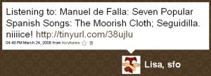 One of my tweets about listening to Manuel de Falla's 'Seven Popular Spanish Songs'
