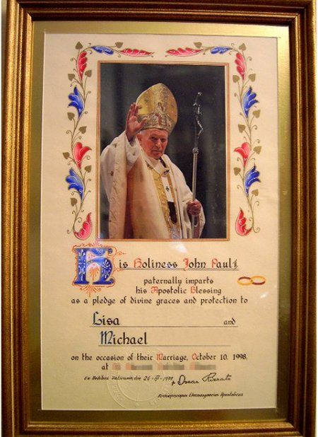 Papal Blessing from Pope John Paul II on the occasion of our wedding