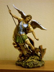 Our spiffy new St. Michael the Archangel statue, with devil-stompin' action!