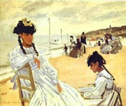 'On the Beach at Trouville' by Claude Monet (1870)
