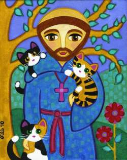 Etsy: 'St. Francis of Assisi with Cats' by Jill West